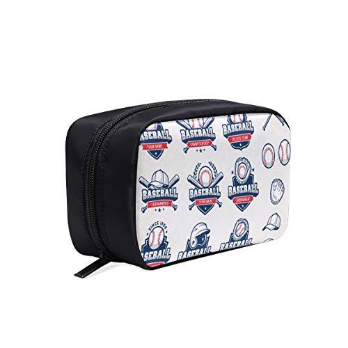 Baseball-Typografie-Embleme, Sport-Logos, tragbare Reise-Make-up-Kosmetiktaschen Organizer Multifunktions-Etui Kleine Kulturbeutel für Frauen und Männer Bürsten-Etui