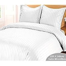 Funda nórdica de 220 x 240 cm y 2 fundas de almohada, satén, a rayas, blanc creme, 220 x 240