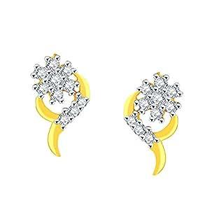Nakshatra Modern Collection 18k Yellow Gold and Diamond Stud Earrings