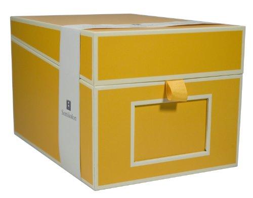 Semikolon (352541) CD und Fotobox sun (gelb) | Aufbewahrungs-Box mit 5 variablen Registerkarten | Box im Format 17,7 x 15,7 x 25,6 cm