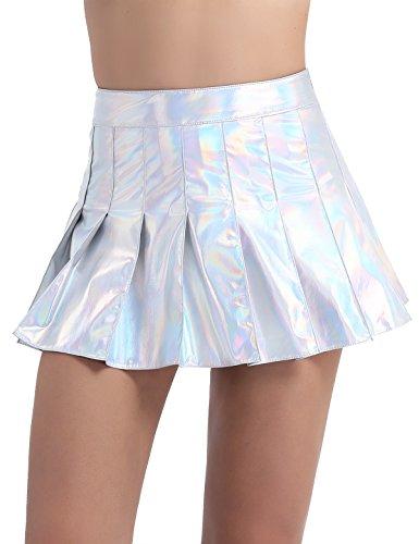 iiniim Damen Rock Wetlook Glänzend Minirock Falten Sommerrock Kunstleder Röcke Party Clubwear Kurz Rock M-XL Silber L