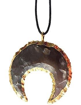 'Zufriedenheit & inneren Frieden' echte Phantasie Jasper Crescent Moon Indianer Doppelhorn Anhänger 18k Gold vergoldet...