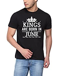 pepperClub Men's Cotton Round Neck Half Sleeve Tshirt - Kings are Born in June