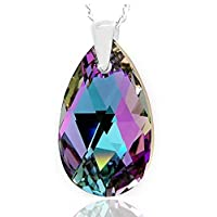 Royal Crystals Sterling Silver Made with Swarovski Crystals Light Pink Blue Teardrop Pendant Necklace,18""