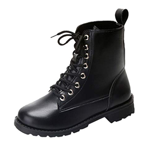 OYSOHE Damen Retro Rutschfest Mid-Boots Knight Martin Stiefel Lace-Up Dicke Schuhe (Schwarz,40 EU