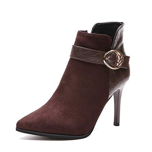 Frauen Spitze Stiletto Sexy Ankle Booties Dünne High Heel Kleid Schuhe Seitlicher Reißverschluss Kurze Stiefel