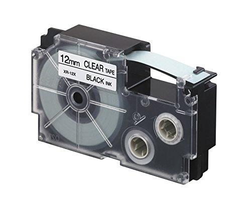 CASIO EZ-Label Printer XR-12X1 Schriftband selbsthaftend 12 mm x 8,0 m schwarz auf transparent (Ez Tape)