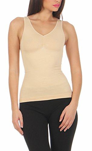 2er Pack Slim -Fit-Hemd Unterhemd Mieder Damenhemd Bauchweg Hemd figurformend Shap Ware CL 837 Beige / Schwarz