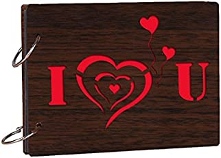 "Studio Shubham Wooden ""I Love You"" Brown Photo Album(26Cm X 16Cm X 4Cm)"
