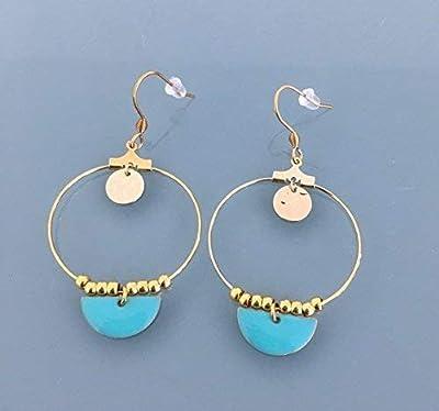 Créoles acier inoxydable, Boucles d'oreilles créoles dorées avec demi lune bleu, bijoux, boucles d'oreilles, boucles dorées, bijoux dorés, boucles d'oreilles dorées