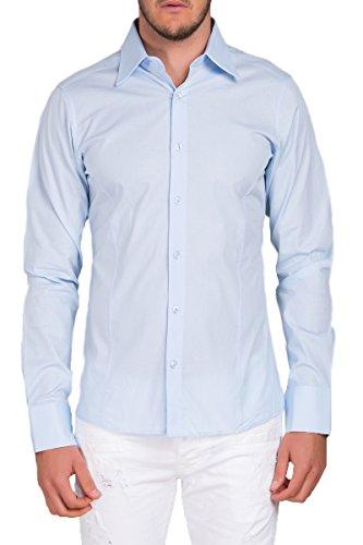 Herren Langarm Hemd Business Anzug Freizeit Hochzeit Basic Standard Slim Fit Hellblau M (Button-down-hemd, Anzug)