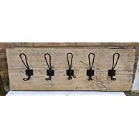 Coat Rack Vintage Handmade Wooden Rustic Metal Coat 5 Coat Hooks Scaffold Board