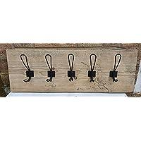 Coat Rack Vintage Handmade Wooden Rustic Metal Coat 5 Coat Hooks Scaffold Board