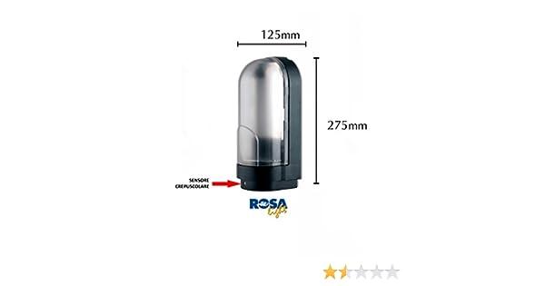 Plafoniere Per Esterno Con Crepuscolare : Plafoniera con sensore crepuscolare 1x60w e27 ip44 nero : amazon.it