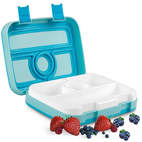 ONE SANTI Bento Box - Brotdose für Kindergarten Kinder & Schule mit 4 Fächern - Lunchbox Auslaufsicher und mit Unterteilung - Jausenbox in Eisblau