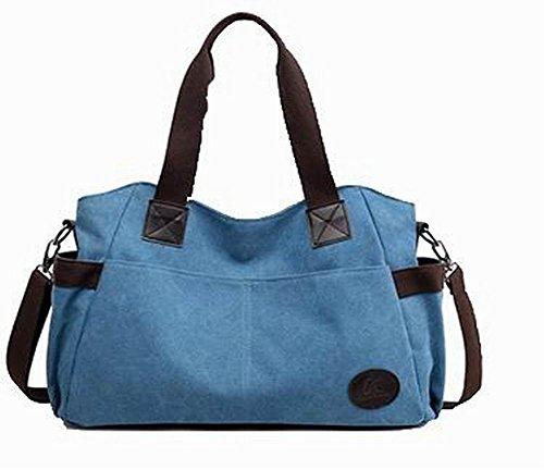 Odomolor Damen Mode Tragetaschen Segeltuch Beiläufig Umhängetaschen, Blau
