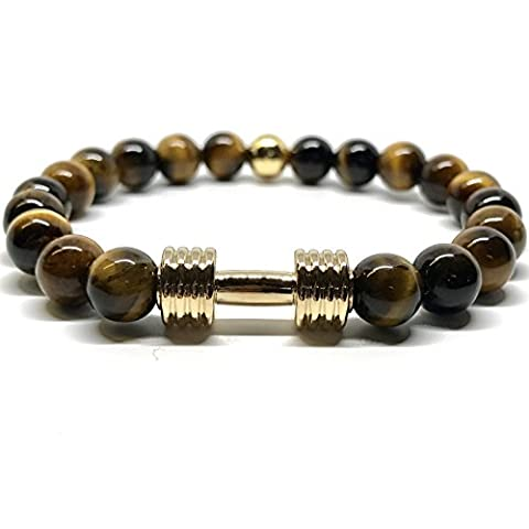 GOOD.designs haltere-bracelet de perles, haltère-pendentif, Pierre Naturelle de Lave, Howlite ou Tigre - Perle de 8mm culturisme musculation (Tigre/Or)