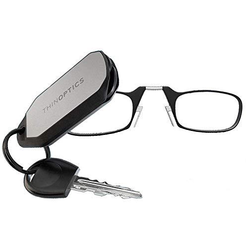 Thinoptics gli occhiali da lettura con il portachiavi, la graduazione di 2.00 resistenza, montatura nero