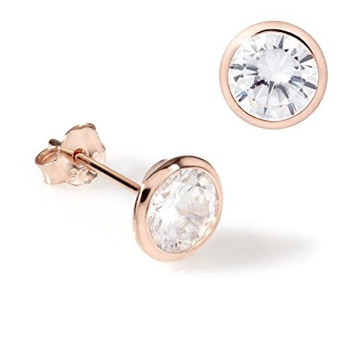 URBANHELDEN - Ohrringe 925 Silber mit Zirkonia Kristall - 1 Paar Ohrstecker Damen Silberschmuck Ohr-Schmuck Studs - Roségold 7 mm