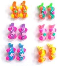ABHI Multicolor Handmade Baby Plastic Pin with Button Hair Clip Tic Tac 12Pcs - (6 Pair)