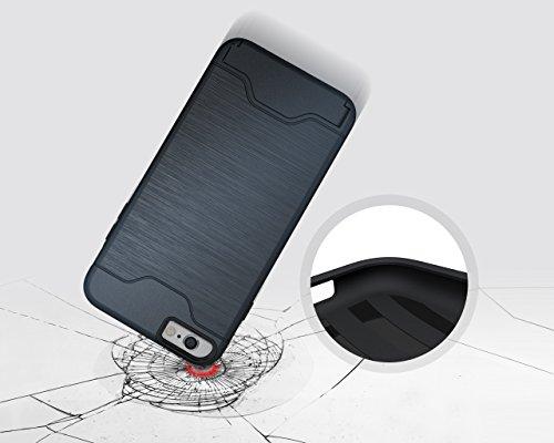 Case for iPhone 6, iPhone 6 Case, iPhone 6 Cases, iPhone 6 Back Case, SICAS ( TM ) iPhone 6 Hybrid Wallet Case Protective Hard Cover Skin Card Holder for iPhone 6-Dark Blue Dark Blue
