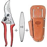 Felco 4 + Lederträger 910+ und Schleifstein/Wetzstahl 903 Baum- und Gartenschere