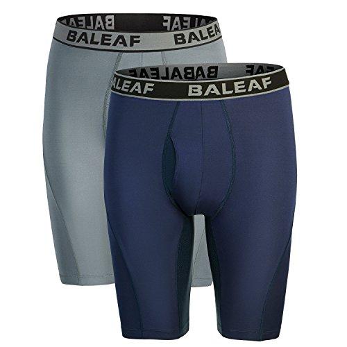 Baleaf Herren 9 Zoll Boxer Brief Sports Performance Unterhose Boxershorts 2er Pack Navy Größe XXL (Heatgear Kurz Lang Kompression)