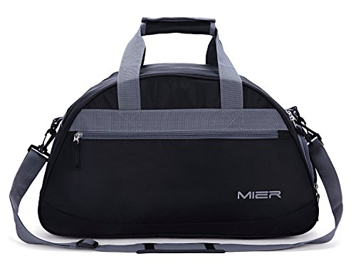 MIER Gym Bag Sports Holdall Weekend Travel Duffel Bag with Shoes Compartment for Women and Men, 2 Colors (Black)