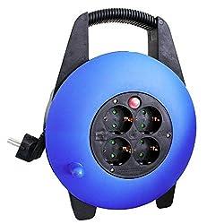 as - Schwabe Kunststoff Kabelbox 230 V - Kabel-Trommel mit Schuko Stecker & 10 m Kunststoffmantelleitung inkl. Schutzkontaktstecker - Verlängerungs-Kabel mit 4 Schutzkontakt-Steckdosen - IP20 I 16094