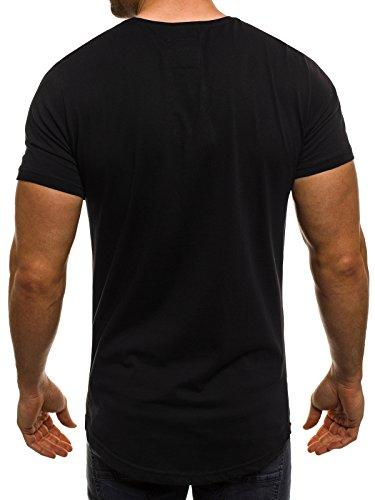 OZONEE Herren T-Shirt mit Motiv Kurzarm Rundhals Figurbetont BREEZY 293 Schwarz