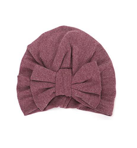 Boomly Baby Turban Hut Stirnband Knoten-Bogen Haarband Wolle Warmer Hut Herbst Winter Kopf Wickeln Cap Für 2-3 jährige Mädchen (Dunkel Violett, 18.5 * 15.5 cm)