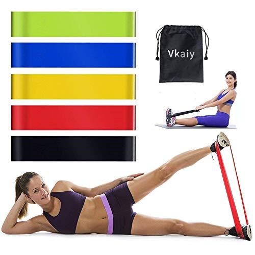 Vkaiy elastiche fitness banda elastica, fasce elastiche di resistenza, set da 5 fasce resistenza bande fitness, yoga, pilates o per riabilitazione dopo un infortunio, adatte a uomini e donne