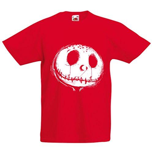 Kinder T-Shirt beängstigend Schädel Gesicht - Alptraum - Halloween-Party-Kleidung (9-11 Years Rot Mehrfarben)