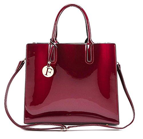 Frauen-Lackleder-Handtasche Dreiteilige Europäische Und US-Damen-Mappen-Schulterbeutel Kurierbeutel Red