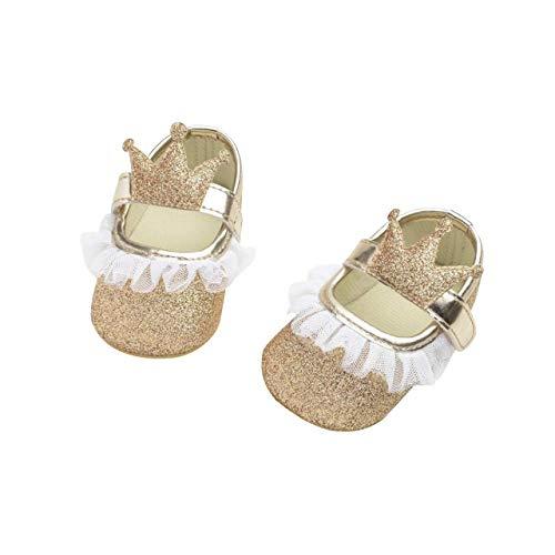 DEBAIJIA Baby Mädchen Prinzessin Schuhe Kleinkind Schöne Krone Spitze Weiche Sohle Rutschfeste Kunstleder Mode Lässig Geeignet für 6-18 Monate Klettverschluss -