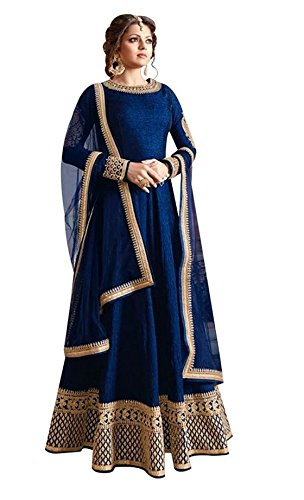 Radhe Fashion Latest Bhagalpuri Silk Blue Party Wear Anarkali Salwar Kameez( BP-02_Blue)