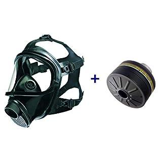 Dräger CDR 4500 Atemschutz-Vollmaske in Universalgröße mit passendem Filter der Schutzklasse A2B2E2K2-P3 R D/NBC (Schwarz)