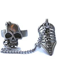 Rock Daddy 'Skull & Chain Finger Claw Ring