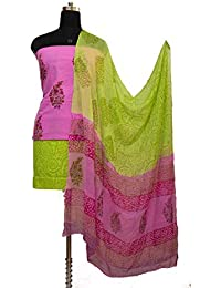 Gleamberry Womens Pink And Green Block Print Cotton Dress Material Set