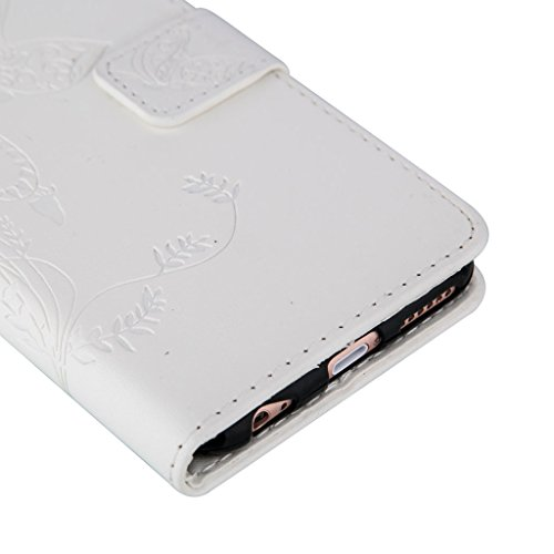 Fubaoda Apple iPhone 5 5S/5SE Bookstyle Étui Fleur Housse en Cuir Case à rabat Coque de protection Portefeuille TPU Case pour Apple iPhone 5 5S/5SE, Bleu foncé blanc