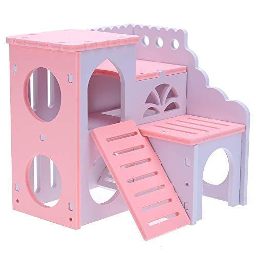 Versteckte Haus (Fliyeong Premium Qualität Faltbare Doppeldeck Holz Hamster Nest Eichhörnchen Haus Versteckte Spiel Spielzeug Kleines Haustier Villa)