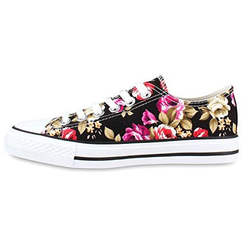Damen Schuhe Sneakers | Turnschuhe Freizeitschuhe | Low Sneaker | Übergrößen | Prints Glitzer Denim Schwarz Blumen