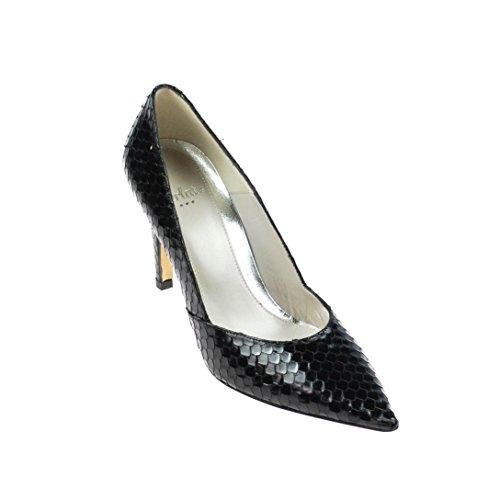 Perlato Damen Pumps Leder Schwarz Schlangenmuster, Schuhgröße:41