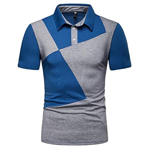 UINGKID Herren T-Shirt Slim-Fit Vintage Verwaschen Easy Business Kurzarm UnterhemdModische Herren zweifarbige Nähte Lässige High-Grade Revers Shirt mit Shorts(Blau)