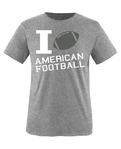 Comedy Shirts - I love American Football - Jungen T-Shirt - Grau / Weiss-Grau Gr. 134/146