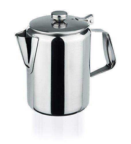 Edelstahl Kaffeekanne 350ml mit Scharnierdeckel hochglanzpoliert Chromnickelstahl klein Milchkanne...