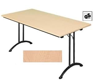 Lüllmann 350121 Table de réunion/cuisine/bureau/comptoir pliante Plateau hêtre/structure acier Noir