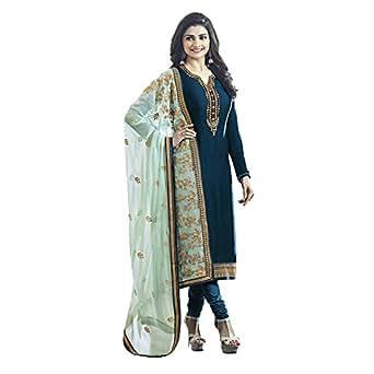 Ethnic Empire Women's Satin Georgette Anarkali Salwar Suit Set (Eed-5467_Green_Free Size)