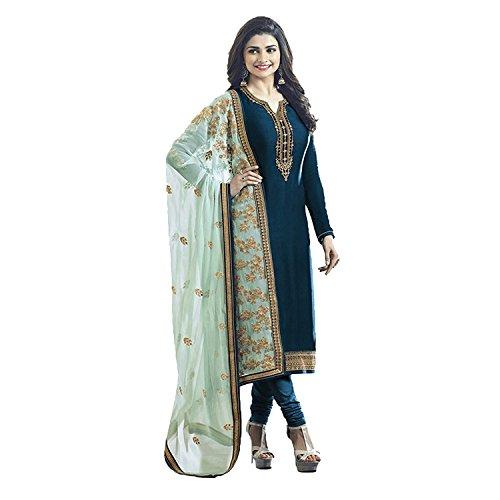 Ethnic Empire Women\'s Satin Georgette Anarkali Salwar Suit Set (Eed-5467_Green_Free Size)