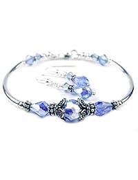 5392ab41741d Damali (cristal de Swarovski de plata de ley hecho a mano pulsera de perlas  de imitación de vibrante color azul zafiro…